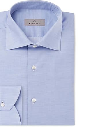 Canali Light-blue Mélange Cotton-poplin Shirt - Blue