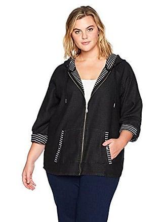 Ruby Rd. Womens Plus-Size Zip-Front Denim Woven Stripe French Terry Jacket, Black, 1X