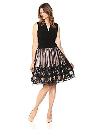 S.L. Fashions Womens Tea Length Tuck Neck Fit and Flare Dress, Black, 8
