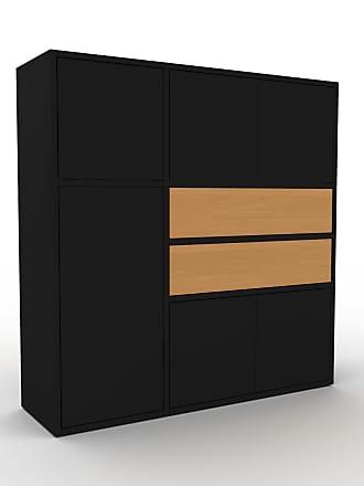 MYCS Buffet - Noir, moderne, avec porte Noir et tiroir Chêne - 116 x 118 x 35 cm