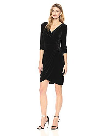 Alex Evenings Womens Velvet Dress with Sleeve and Hip Detail (Regular and Petite), Black, 10