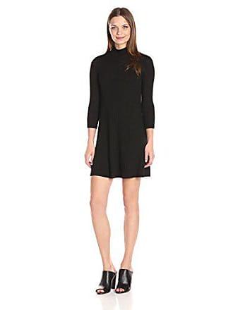 Michael Stars Womens 3/4 SLV Swing Dress, Black, L
