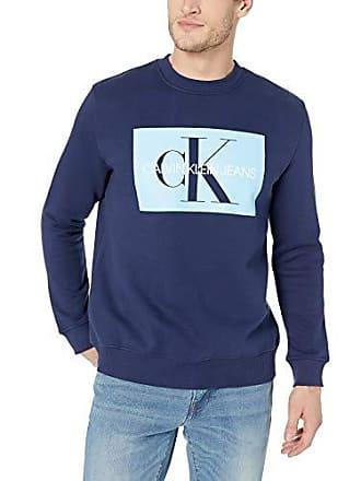 Calvin Klein Mens Monogram Logo Crew Neck Sweatshirt, Peacoat, Large