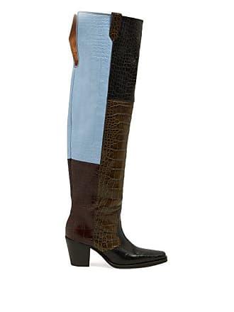 e15dc3a2a890 Ganni Crocodile Effect Leather Knee Western Boots - Womens - Black Multi
