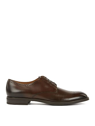 BOSS Derby shoes in burnished calf leather with brogue detailing