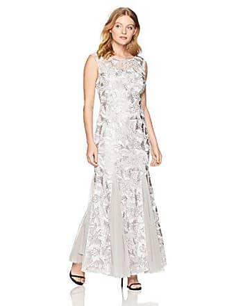 Alex Evenings Womens Petite Embroidered Dress with Illusion Neckline, Platinum, 14P