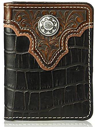 Nocona Belt Co. Mens Caiman Floral Over Circle Biflip Wallet, brown One Size