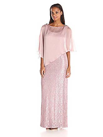 Ignite Womens Dress Zipper Sequin Lace Beaded Gown, Rose, 12
