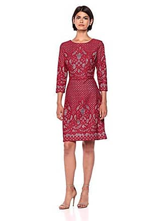296138a93f Gabby Skye Womens 3/4 Sleeve Round Neck Lace Fit & Flare Dress, Ruby