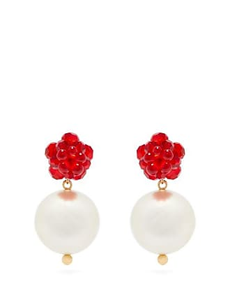 Simone Rocha Beaded Flower And Faux Pearl Earrings - Womens - Crystal