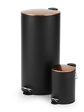 MADE.COM Cross, lot de 2 poubelles à pédale 3L et 27L, noir et cuivre