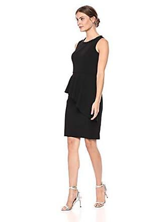 Eliza J Womens Sleeveless Sheath Dress with Peplum Overlay, Black, 14