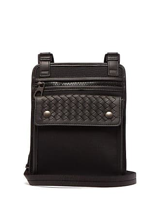 e129534e42c9 Bottega Veneta Intrecciato Woven Leather And Canvas Bag - Mens - Black