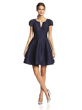 771c958678a8 Halston Heritage Womens Short Sleeve Notch Neck Dress with Tulip Skirt,  Midnight, 8