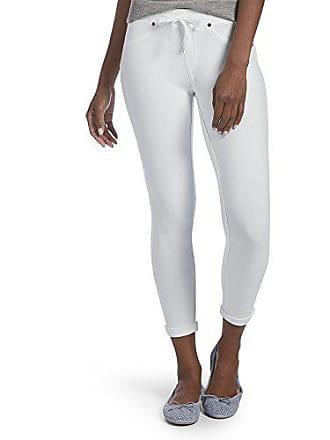 Hue Womens Sweatshirt Denim Cuffed Capri Leggings, white, M