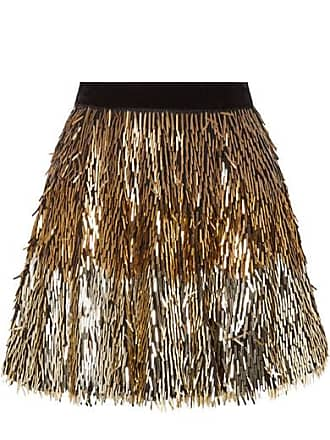 Alice & Olivia Cina Sequined Tulle Mini Skirt - Gold