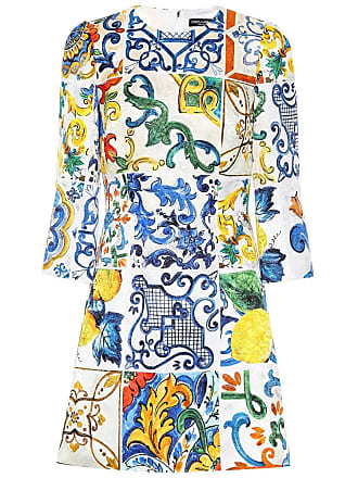 Dolce   Gabbana Miniabito a stampa in cotone e seta 843a3d62195