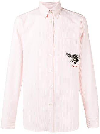 bf2a3cfb732 Gucci striped bee embroidered buttondown shirt - Pink