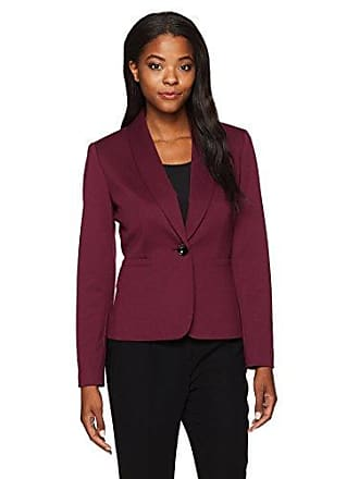 Kasper Womens Ponte 1 Button Shawl Collar Jacket, Merlot 6