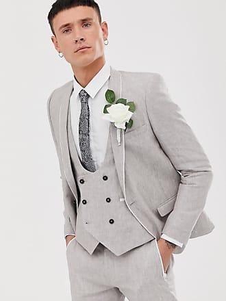 Twisted Tailor Runner - Giacca da abito super skinny in lino grigio pietra