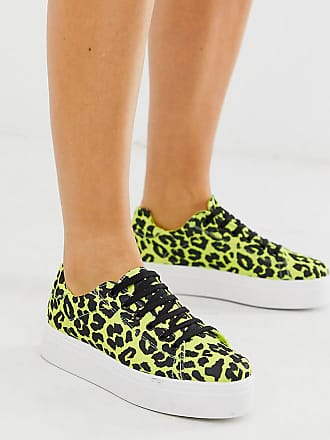 940b69f6bbb1 Asos Wide Fit Day Light chunky flatform lace up trainers in lime leopard