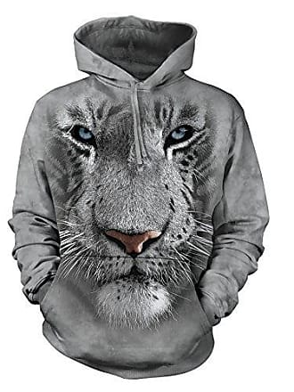 The Mountain White Tiger Face Hsw Adult Hoodie, Grey, Small