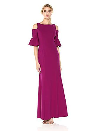 Adrianna Papell Womens Cold Shoulder Long Gown with Ruffle Elbow Sleeve Detail, Wild Berry, 2