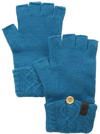 True Religion Womens Cable Knit Fingerless Glove, Teal One Size
