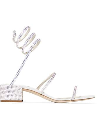 ff9ec56a2b9 Rene Caovilla Cleo Crystal-embellished Satin And Leather Sandals - White