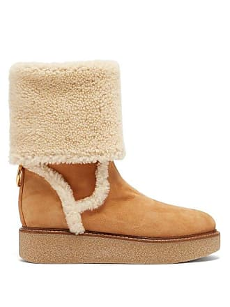 653843ab8a84 Salvatore Ferragamo Bonne Shearling And Suede Boots - Womens - Tan