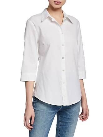 120% Lino 3/4-Sleeve Button-Down Stretch Linen/Cotton Shirt