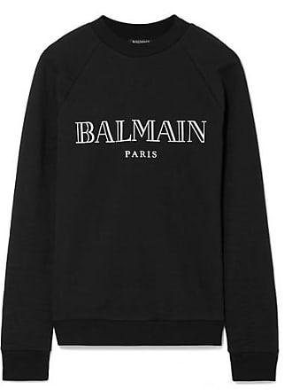 c2ed113dfe4 Balmain Sweat En Molleton De Coton Imprimé - Noir