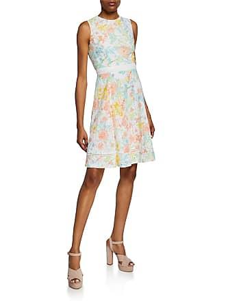 Iconic American Designer Floral Eyelet Fit-&-Flare Dress