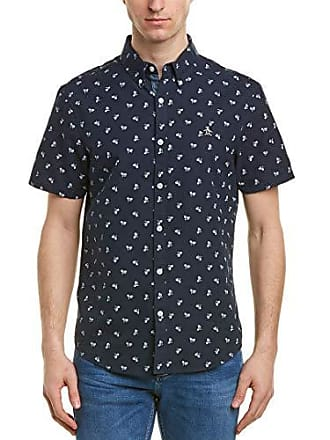 794d9975 Original Penguin Mens Short Sleeve Bike Print Oxford Shirt, Dark Sapphire,  Extra Large