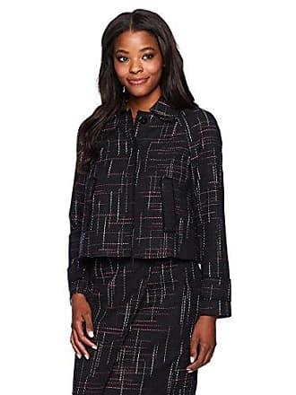 Ellen Tracy Womens Contrast Stitch Detail Tweed Jacket, Aurora Stripe 6