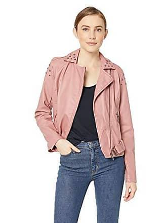 Yoki Womens Faux Leather Moto Jacket with Studs, Mauve, XL