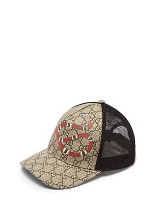 0ef942de5 Gucci Gg Supreme And Kingsnake Print Mesh Cap - Mens - Beige