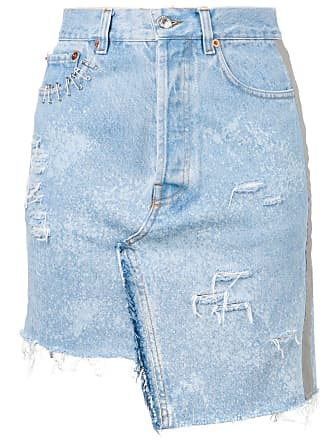 Forte Couture Saia jeans destroyed - Azul