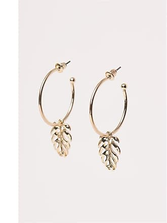 Dynamite Palm Leaf Pendant Earrings Gold