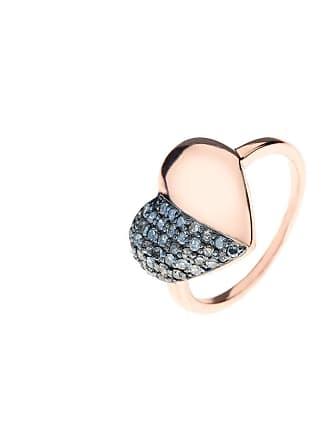 Latelita London Diamond Half and Half Heart Ring Rose Gold - UK P - US 7 1/2 - EU 56 1/2