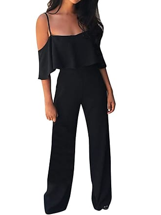 2445ed04a6 JERFER Women Sexy Solid Camisole Playsuit Trousers Casual Long Pants Beach  Sexy Jumpsuit Black Red Fashion
