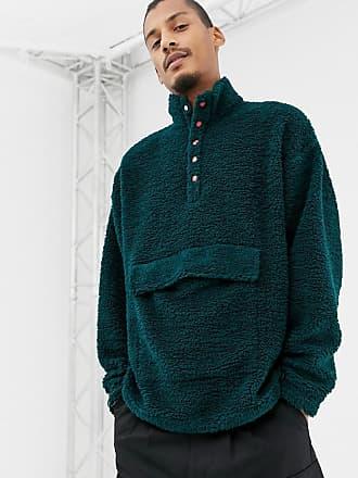 Asos oversized sweatshirt with popper neck in borg green - Green