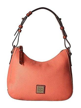 Dooney & Bourke Pebble Small Kiley Hobo (Coral/Tan Trim) Handbags