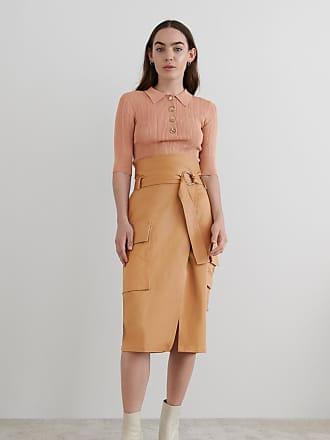 vitais hw midi slit skirtdes knälång kjol brun vila