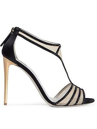 23a0c04ec7d Giorgio Armani Giorgio Armani Woman Crystal-embellished Satin-trimmed Mesh Sandals  Black Size 41