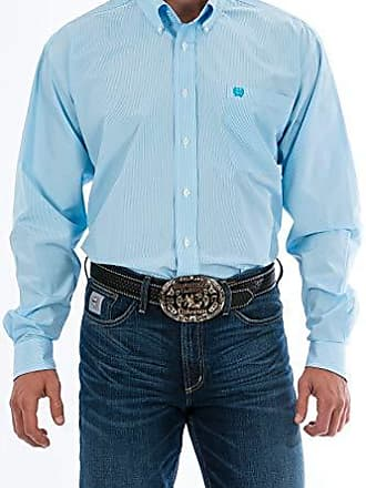 Turquoise X-Small Cinch Mens Classic Fit Long Sleeve Button Down Stripe Shirt with Contrasting Cuffs and Collar In Plaid