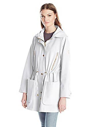 Trina Turk Womens Penny Trench Coat, Silver, 14
