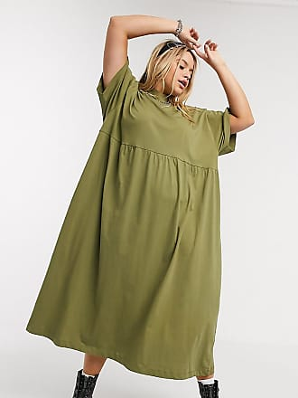 Collusion Plus jersey smock maxi dress in khaki-Green