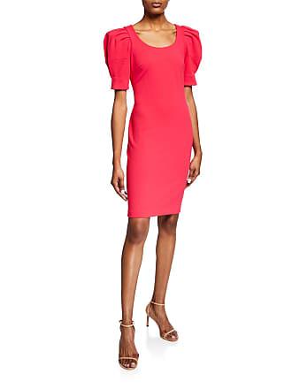 Iconic American Designer Puff Sleeves Sheath Dress