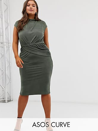 c74fe08991 Asos Curve ASOS DESIGN Curve drape front belted pencil midi dress - Green